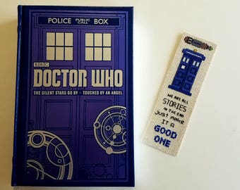 Dr Who - Sonic Screwdriver - Tardis - 11th Doctor Quote - inspired bookmark - hand stitched