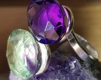 Beautiful double ring of amethyst and fluorite