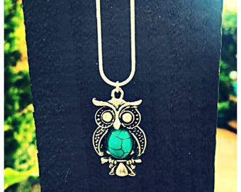 Turquoise owl necklace with 925 silver chain. Gift bag packaged.
