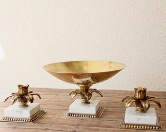 Brass Candleholder - Brass Candlestick Holders - Solid Brass Candleholders - Vintage Brass Candleholders - Brass Flower Candleholder - Brass
