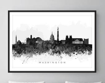 Washington DC Skyline, Cityscape Art Print, Wall Art, Watercolor, Watercolour Art Decor