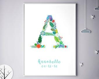 Customizable, Customizable Prints, Initial Print, Customizable Poster, Allison, Ava, Alexandra, Audrey, Ariana, Alice, Birthday
