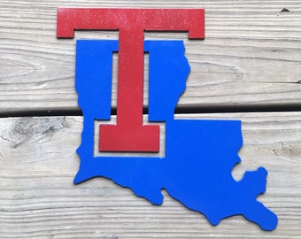 Louisiana Tech metal wall hanger