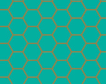 Fun! Art Gallery Blush Hex Teal 100 % cotton Quilting fabric BSH-88402.  By the yard, cut to order