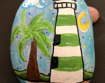 Scenic Lighthouse Painted Rock, Paperweight, Collectible & Decor