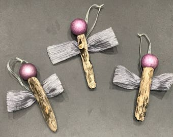Angel Driftwood Christmas Tree Ornaments