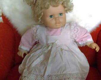 Vintage large 1980s female soft bodied doll blonde hair 24 inches