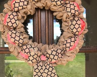 Ready To Ship Wreath / Burlap Wreath / All Seasons Wreath / Gift for Her / Farmhouse Wreath / All Year Wreath / Door Decor