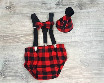 Lumberjack First birthday boy Outfit, 1st Birthday boy Outfit, Smash Cake outfit boy, Lumberjack Diaper Cover set, Bow tie and suspender