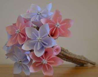 Pink and white Japanese Kusudama bouquet/posy