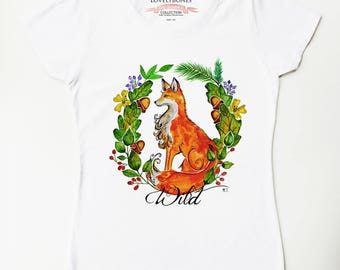 FOREST FOX - White Cotton T-shirt by LovelyBones Clothing
