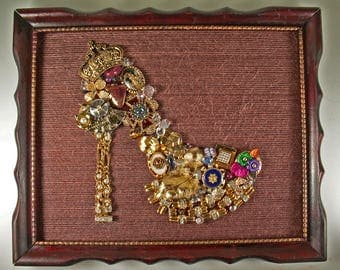 Framed Jewelry Art, Rhinestones and Crystsls, Hand Crafted, Mixed Media, Collage