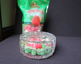 Pretty Starburst Design Glass Candy Dish Trinket Box