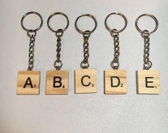 Scrabble letter key ring