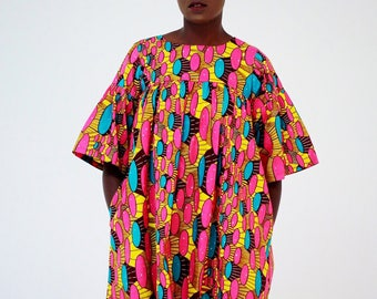 African Print Ankara shift Dress with cut out Sleeves