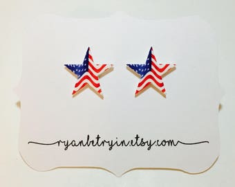 Star Spangled American Flag Stud Earrings - American Flag Earrings - Star Earrings - Flag Studs - USA American Flag Jewelry - Star Studs
