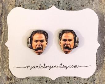 Nick Saban Earrings - Mad Nick Saban - Alabama Crimson Tide - College Football Fan - University of Alabama - Roll Tide - Football Gift - SEC