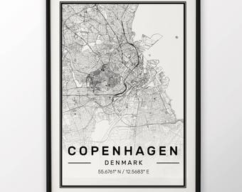 Copenhagen City Map Print Modern Contemporary poster in sizes 50x70 fit for Ikea frame 19.5 x 27.5 All city available London, New York Paris