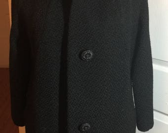 Impeccable Vintage Wool Black Dress Coat with Mink Collar