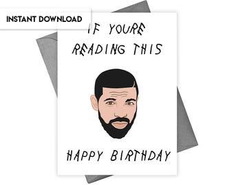 Instant Download Drake Birthday Card, Printable Drake Card, DIY Drake Card, Drake Printable, Drake Party