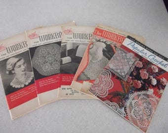 Vintage Womens Crafts Magazines of Home and Needlecraft - The Workbasket and Popular Crochet 1950's 60's