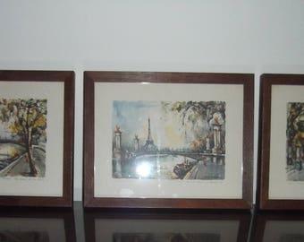 Trio of Vintage Paris Street Scenes Litho Prints - by Girard - Mid Century 40's 50's