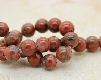"Red Jasper Smooth Round Gemstone 8mm 10mm Beads (8"" strand - 2.5 mm hole)"