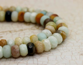 Amazonite Rondelle Faceted Gemstone Beads