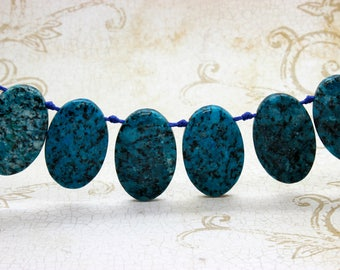 "Blue Jasper Natural Flat Oval Smooth Gemstone Beads Loose Bead 22mm x 36mm - 15.5"" Strand"