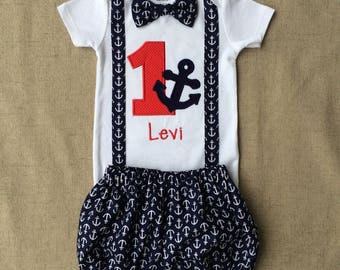 Nautical Anchor Smash Cake outfit, 1st Birthday Anchor Onesie with Suspenders and bow tie , Anchor Diaper Cover