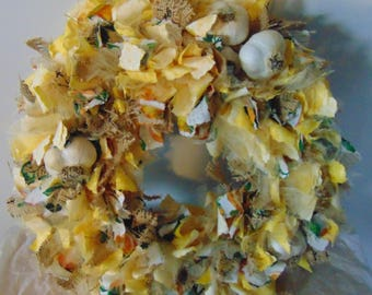 Fabric Wreath, Yellow, Burlap, Garlic, Handmade, One of a kind