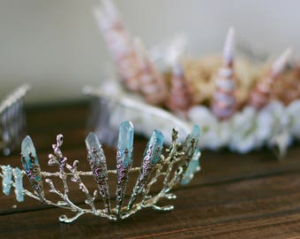 Light Blue Elven Mermaid Fairy Quartz Tiara