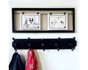 Vintage Cross Stitched Cats in the Home Comic Set in Shadow Box