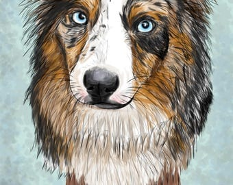Australian Shepherd Original Digital Painting, Realistic