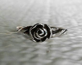 Rose Toe Ring, Solid Sterling Silver Rose Toe Ring, Flower Toe Ring, Body Jewelry