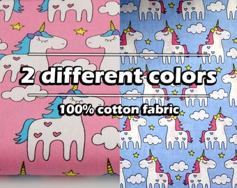 Pink Unicorn Fabric, Quilting Fabric, pony fabric, unicorn gift, unicorn pattern, yard goods, girl fabric kids party Cotton Material