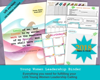 Editable Young Women Leadership Binder 2018 (US Holidays Peace in Christ/Peace in Me Waves Version)