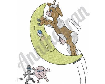 Cow Jumped Over Moon - Machine Embroidery Design, Hey Diddle