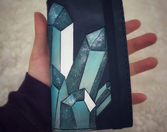 Teal Crystals Leather Journal