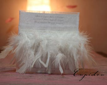 """Cupid"" Feather Pocket wedding invitation romantic wedding invitation"