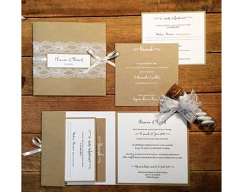 Lace Elegance refinement Chic kraft wedding invitation