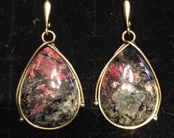 Stunning brass designer earrings with eudialyte