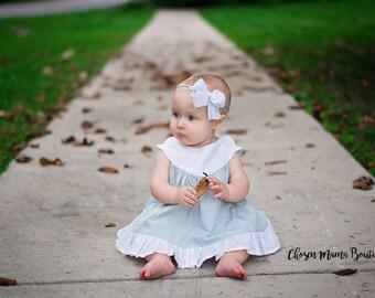White nylon headband mini messy bow, ruffle bow, baby headband, newborn headband, newborn bow, skinny bow, skinny headband, nylon headband