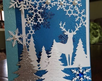 Blue and White Snowflake, Deer Card
