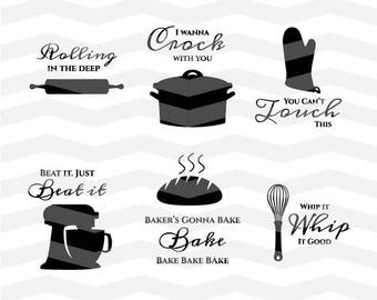 Kitchen SVG Files - Kitchen Sayings DXF Silhouette Cameo Cricut Explore Cut Files