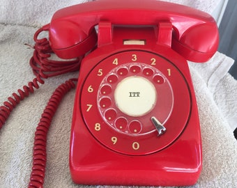 VTG Rotary dial Telephone I.T.T(Face Standard)RED