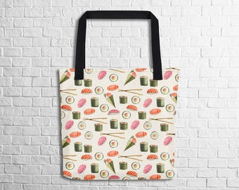 Sushi Love Tote Bag Sushi Pattern Tote Food Pattern Tote Bag Cute Sushi Tote School Tote Shopping Tote Work Tote Witty Novelty