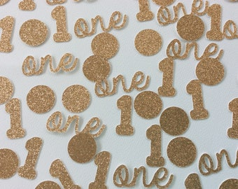Party decoration, First birthday decoration, Party table decoration, First birthday confetti, Number 1 confetti, Gold confetti, Confetti