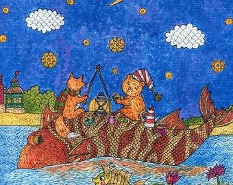 Print journey, print fish, print bear, print fox, watercolor print, print for nursery, print for baby boy, print for girls room, night print