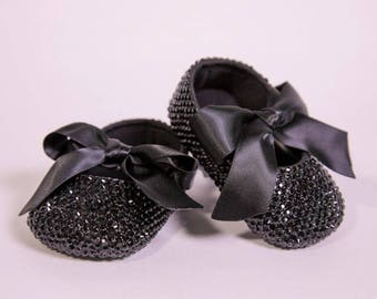 Black Bling Crib Shoes